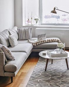 Mid-Century and scandinavian furniture grey sectional sofa, sectional livin Cheap Living Room Sets, Cozy Living Rooms, New Living Room, Living Room Sofa, Apartment Living, Living Room Furniture, Living Room Decor, My First Apartment, Living Pequeños