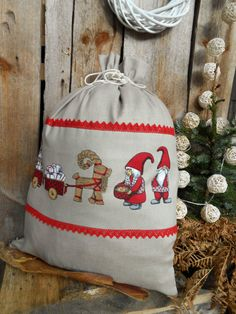 Boule de Noël Sac de cadeau de Noël scandinave de Santa Sack lin Toile de jute Gnome Tomte Nisse vacances sac-cadeau