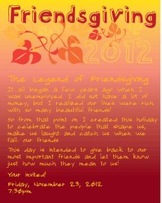 Friendsgiving Thanksgiving Invitation Thanksgiving Invitation