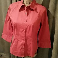 """Rust color button down Rust color button down shirt with 3/4 sleeves. Flattering cut. 18"""" from shoulder to hem Chadwicks Tops Button Down Shirts"""