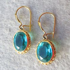 Beautiful Antique Victorian 14k Gold Turquoise Blue Paste Dangle Pierced Earrings