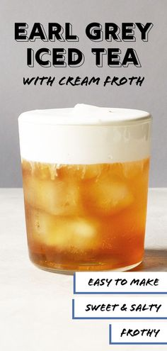Want to add a decadent touch to your humble iced tea? Add this cream froth to an earl grey base thatll turn your boring iced tea into a rich luscious iced tea latte. Refreshing Drinks, Summer Drinks, Fun Drinks, Healthy Drinks, Beverages, Iced Tea Recipes, Coffee Recipes, Drink Recipes, Plat Vegan