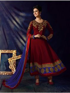 Buy Maroon Georgette Anarkali Suit With Zari Embroidery And Stone Work Designer Samaya Collection Online In India - saree.com