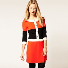 60s Low Belted Color Block Dress
