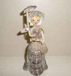Antique Folk Art Shell Work Doll #2