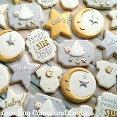 Thinking of serving baby shower cookies at the baby shower? Find beautiful inspiration with 95 adorable baby cookies. Also view diy videos, display tips . Star Baby Showers, Baby Shower Parties, Baby Shower Themes, Baby Boy Shower, Baby Shower Decorations, Shower Ideas, Birthday Decorations, Star Cookies, Baby Cookies