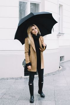camel coat, black turtleneck, black leggings or jeans, black umbrella, hunter rain boots, black long strap brief case.