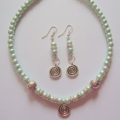 Light Green Pearl  Necklace with earring set
