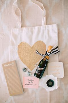 """Will You Be My Bridesmaid?"" Brunch and DIY Ask Bag on SMP: http://www.StyleMePretty.com/2014/01/24/diy-bridesmaid-ask-gift/ Kate Ann Photo"