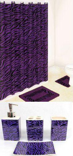 Black and Purple Zebra 19-piece Bathroom Set: 2-rugs/mats, 1-shower Curtain, 12-fabric Rings, Lotion/liquid Soap Dispenser, Tumbler, Toothbrush dish, Soap Dish Bathroom Rug Sets, Bathroom Shower Curtains, Purple Zebra, Liquid Soap, Soap Dispenser, Tumbler, Lotion, Paradise, Dish