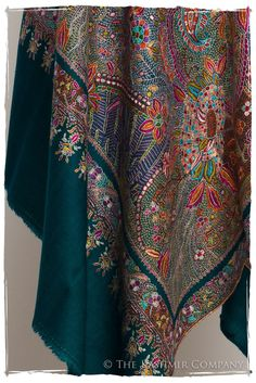 Fleur Tropicale - Grand Pashmina Shawl — Seasons by The Kashmir Company Kashmiri Shawls, Boho Girl, Pashmina Shawl, Shawls And Wraps, Boho Fashion, Embroidery Designs, Tropical, Cashmere Shawl, Lahenga