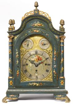 A GEORGE III PARCEL-GILT GREEN-JAPANNED AND POLYCHROME DECORATED MUSICAL TABLE CLOCK, ROBERT WARD LONDON, CIRCA 1780