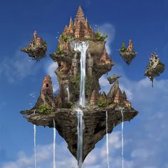 Another floating island/castle with waterfall. Yaksa Place by *omupied on deviantART