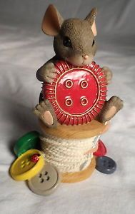 Charming Tails Fitz Floyd  YOU RE Cute AS A Button  Figurine | eBay