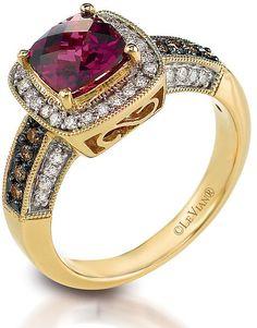 Le Vian Chocolatier Le Vian 14ct Honey Gold #diamond & rhodolite ring