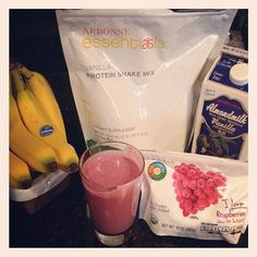 """Raspberry banana protein shake """"Like"""" my FB page at Surshae Arbonne Independent Consultant. Consultant ID 21565488"""