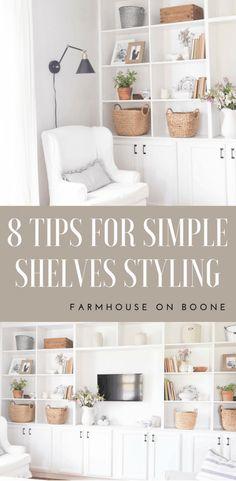 Decorating Bookshelves, Bookshelf Styling, How To Decorate Bookshelves, Bookshelf Design, Built In Shelves Living Room, Bedroom Shelves, Book Shelves, Open Shelves, New Wall