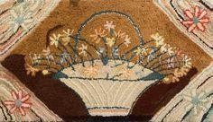 c. 1900 flower basket hooked rug