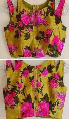ot colors but for bridesmaid blouse with solid sari Floral pop Sari Blouse Designs, Choli Designs, Fancy Blouse Designs, Blouse Styles, Blouse Patterns, Mehndi, Style Oriental, Stylish Blouse Design, Blouse Models