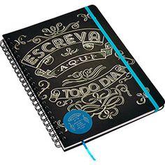Caderno Cicero Papelaria Wire-o Coleção Giz Pautado A4 Escreva Aqui Todo Dia