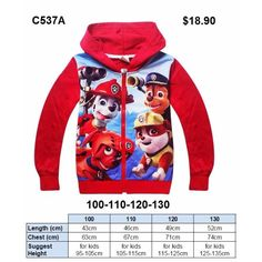 Paw Patrol Jacket C537A (Brand New)Go to this URL for more jackets. https://www.facebook.com/pg/myLOOTz/photos/