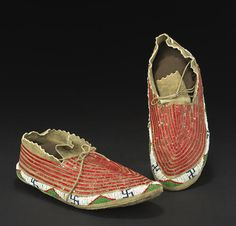 A pair of Sioux quilled and beaded moccasins