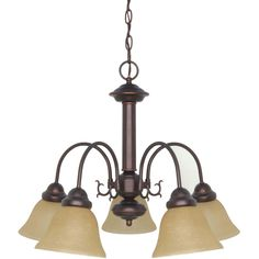 Ballerina - 5 Light Chandelier - Mahogany Bronze Finish with Champagne Washed Linen Glass | Overstock.com Shopping - The Best Deals on Chandeliers & Pendants