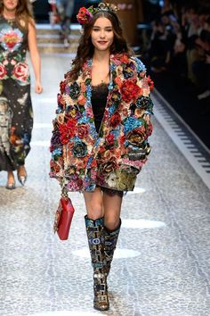 Dolce and Gabbana flower jacket winter fall 2017