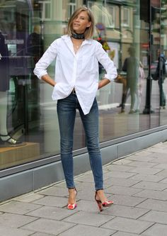white shirt, jeans & great shoes
