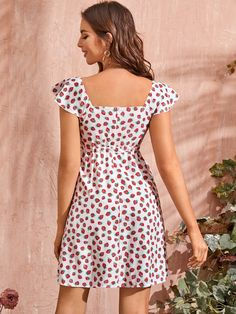 Allover Strawberry Square Neck Drawstring A-Line Dress Dress P, Dress Outfits, Fashion News, Boho Fashion, Diy Clothes, Clothes For Women, Button Front Dress, Lingerie Sleepwear, Fit And Flare
