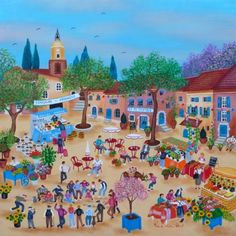 St. Tropez Flower Market by Yolande Salmon-Duval, size: 50cmX50cm. Painting matierial: Oil on canvas