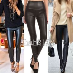 """Black slick Faux leather leggings high waist sexy New sexy Black Matte Faux leather look leggings. Perfect fit. High waist, Medium weight, Stretchy fabric. Fabric Content : Polyester + spandex. Measurements lying flat Unstretched to stretched (Inseam = 27-28"""") (Total Length= 38-40"""") (Front Rise = 13"""") (Back Rise =15"""")  (Small Waist =12-14"""") (Medium Waist =13-15"""") (Large Waist =14- 16 """" ) *Price is firm unless bundled Boutique  Pants Leggings"""