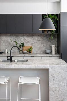 Cheap Home Decor .Cheap Home Decor Stone Kitchen, New Kitchen, Kitchen Dining, Kitchen Decor, Stone Benchtop Kitchen, Kitchen Soffit, Handleless Kitchen, Kitchen Ideas, Modern Kitchen Design