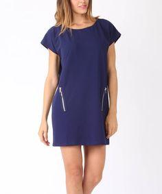 Blue Zip Cap-Sleeve Dress #zulily #zulilyfinds