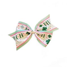 """Patrick/'s Day Green Hot Pink Chevron Pinch Proof Bottle Cap Hair Bow 5/"""" St"""