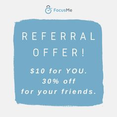 Hey, happy Friday everyone!  Wanted to let you know about a referral opportunity for you.  For each friend you refer to FocusMe, you get $10 in cash, and your friends get 30% off their FocusMe purchases.   Sign up at the link, ask your friends to buy from your invite link and that's it. Really super simple!  www.focusme.referralcandy.com  #referral #referralcandy #focusme #discount #awesomeness #timemanagement #productivity #thissummer #lifepurpose Time Management For Students, Time Management Tips, Study Skills, Study Tips, Student Studying, Work Life Balance, Life Purpose, Super Simple, Happy Friday