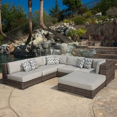 Christopher Knight Home Glenoaks 6-piece Outdoor Wicker Sectional with Sunbrella Cushions