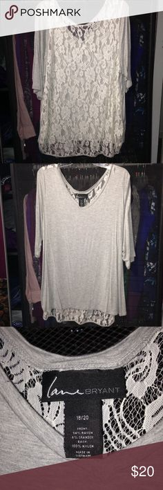 LANE BRYANT Lace Back Blouse Gray in the front, soft white lace in the back! Super comfortable, 3/4 sleeve blouse. Only worn a handful of times so is in like new condition! Lane Bryant Tops Blouses