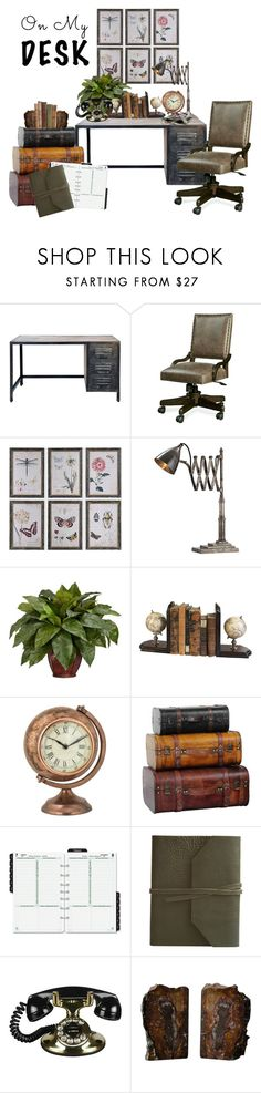 """""""On my desk 1"""" by fashion-film-fun ❤ liked on Polyvore featuring interior, interiors, interior design, home, home decor, interior decorating, WALL, Arteriors, Nearly Natural and Authentic Models"""