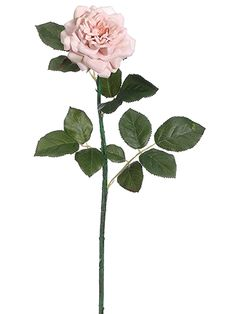 Velvet Cottage Rose Stem in Light Pink  Artificial pink wedding flowers add a romantic look to your DIY centerpieces like this adorable, faux velvet cottage rose stem in light pink. This lovely pink velvet rose will add a soft touch to your bouquets and winter-inspired home arrangements!  #afloral