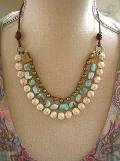 Boho knotted gemstone necklace Country Walk boho by 3DivasStudio