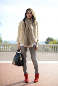faux fur and red booties »Mónaco day 1 | Lovely Pepa by Alexandra