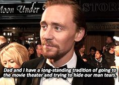 cheers-mrhiddleston: #get you a man who cries at movies like Tom Hiddleston does. Gif-set: http://cheers-mrhiddleston.tumblr.com/post/155766670542/cheers-mrhiddleston-get-you-a-man-who-cries-at