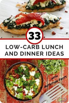 33 Low Carb Lunch and Dinner Ideas- With Nutrition Facts. Repin this and then click through to get some great new ideas: http://www.dietvsdisease.org/33-low-carb-lunch-and-dinner-ideas/