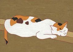 Cat relaxing on railing. Morikazu Kumagai [熊谷守一] (Japan, 1880-1977)