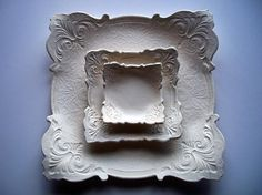 Set of 3 Wedding square plates by CatsPawPottery on Etsy, $64.00
