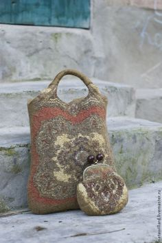 Валяная сумка авоська и кошелёчек - хаки,орнамент,осенняя гамма,сумка женская