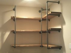 Industrial Pipe Shelves DIY Corner Shelf Ideas Built with Industrial Pipe Parents Getting Early Industrial Pipe Shelves, Wood Shelves, Floating Shelves, Pipe Shelving, Wall Shelving, Black Shelves, Corner Shelving Unit, Diy Corner Shelf, Glass Shelves Kitchen