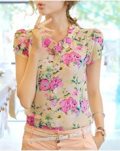 Summer puff sleeve flowers print Chiffon shirt
