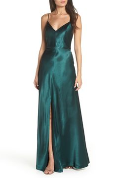 Free shipping and returns on Jenny Yoo Dina V-Neck Satin Crepe Gown at  Nordstrom d4b1a35d0599